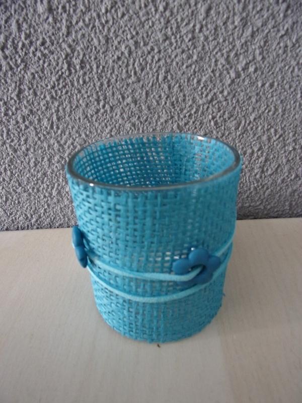 Waxinelichthouder aqua