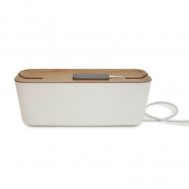 Cable organiser hideaway XL white/natural wood