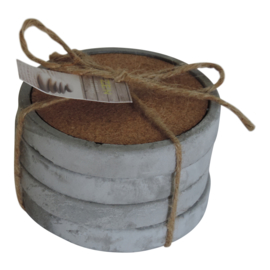 Onderzetters beton/kurk, 4 stuks