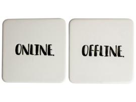 Onderzetters 'Online Offline', set van 2