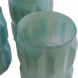 Decoratief glas oud groen set van 3, 9cm
