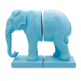Bookend Blue Elephant