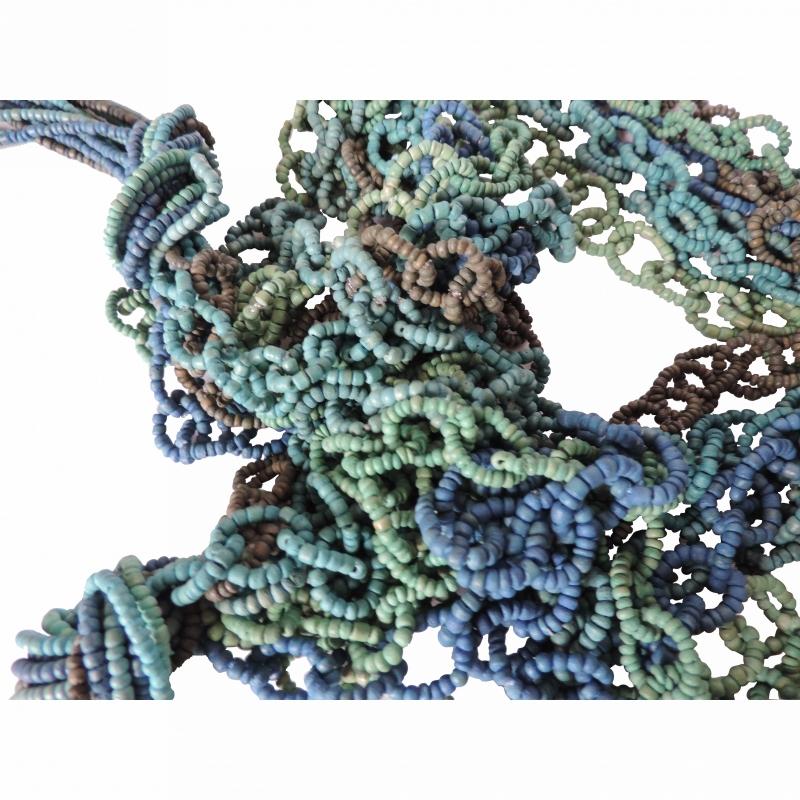 Decoratieve houten ketting, groen/blauw