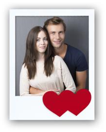 Zep Irina 10x10cm, Wit fotolijst met rode hartjes