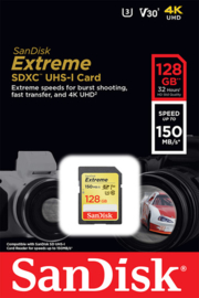 SanDisk 128 GB SDXC Extreme 150MB/s V30 UHS-I U3  SD kaart