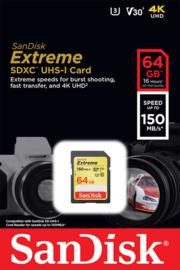 SanDisk 64 GB SDXC Extreme 150MB/s V30 UHS-I U3 SD kaart