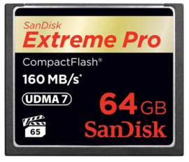 Sandisk Extreme PRO Compact Flash kaart 64GB 160mb/s
