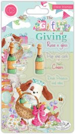 CCSTMP042 Craft Consortium The Gift of Giving Clear Stamps Pop the Cork