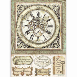 DFSA4519 Stamperia Rice Paper A4 Lady Vagabond Clock with Mechanisms