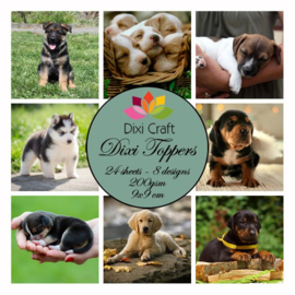 ET0243  Craft Dixi Toppers 9x9cm Dogs