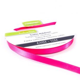 301002-1007 Vaessen Creative satijnlint dubbel 6mm - 10m pink