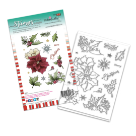 PD8093A Polkadoodles Merry Christmas Poinsettia Clear Stamp