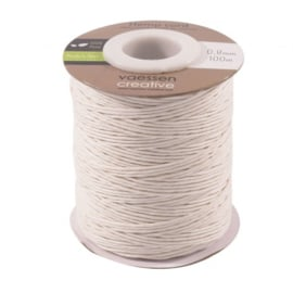 3908-025 Hemp cord wit 0,8mm x 100m