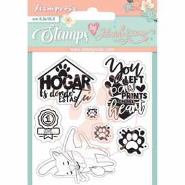 WTKJR33 Stamperia Circle of Love Labels Clear Stamps