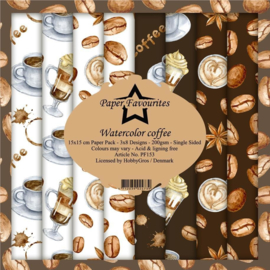 PF153 Paper Favourites Watercolor Coffee 6x6 Inch Paper Pack