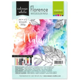 2911-6003 Florence • Watercolor paper smooth White A4 12pcs 200g