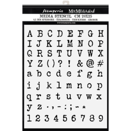 KSTD0561 Stamperia Thick Stencil 20x25cm Alphabet and Numbers