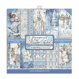 SBBL76 Stamperia 12x12 Inch Flower Paper Pack  Winter Tales