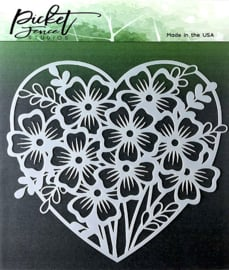 SC-123 Picket Fence Studios Heart of Flowers Stencil