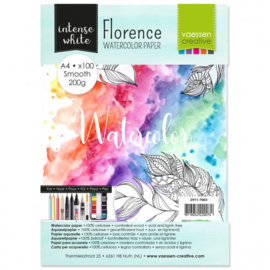 2911-7003 Florence • Watercolor paper smooth White A4 100pcs 200g