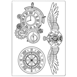 KACM06 Stamperia Mixed Media Mould A5 Sir Vagabond Clocks and Wings