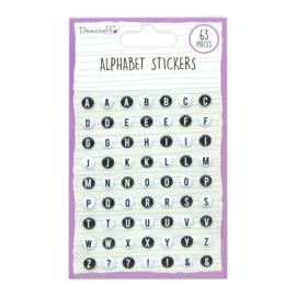 DCBS253 Dovecraft Alphabet Stickers Black and White (63pcs)