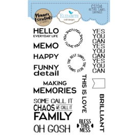 CS134 ECD Clearstamps Retro Labels Sayings