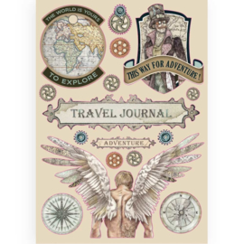 KLSP085 Stamperia Colored Wooden Shapes A5 Sir Vagabond Travel Journal