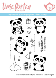 T4T/290/Pan/Cle Time For Tea Pandamonium Party Clear Stamps