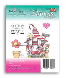 PD8073 Polkadoodles Gnome is Where the Heart Is Clear Stamps