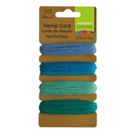 3908-008 Hemp cord assortiment 4x10m blue/green