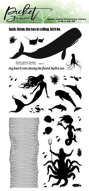 OC-117 Picket Fence Studios Mermaids of the Sea 4x8 Inch Clear Stamps