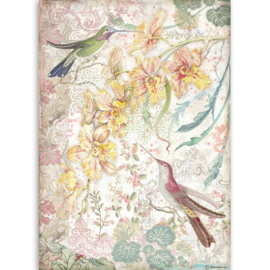 DFSA4510 Stamperia Rice Paper A4 Yellow Orchids and Birds