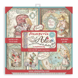 SBBXL12 Stamperia Alice in Wonderland and Through the Looking Glass 12x12 Inch Maxi Paper Pack