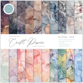 CCEPAD014 Craft Consortium Essential Craft Papers 12x12 Inch Paper Pad Ink Drops Dusk