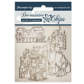 SCB31 Stamperia Decorative Chips Welcome