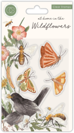 CCSTMP037 Craft Consortium At Home in the Wildflowers Clear Stamps Bees & Butterflies
