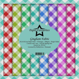PF354 Paper Favourites Gingham Fabric 12x12 Inch Paper Pack