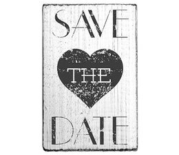V01013 Colop Save the Date Heart Vintage Rubber Stamps