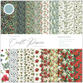 CCEPAD011 Craft Consortium Essential Craft Papers 12x12 Inch Paper Pad Festive Flora