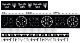 WASHIFWL18 Filled With Love - Washi Tape Black/White nr. 18