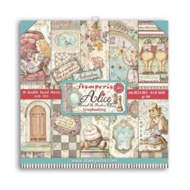 SBBS42 Stamperia Alice Through the Looking Glass 8x8 Inch Paper Pack