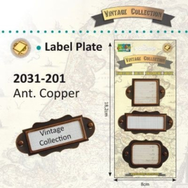 2031-201 Vintage Label plates 3 st. copper