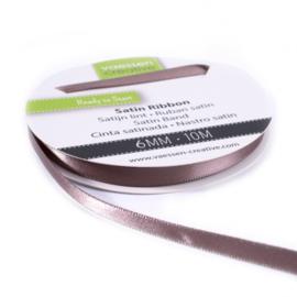 301002-1023 Vaessen Creative satijnlint dubbel 6mm - 10m melkchocolade
