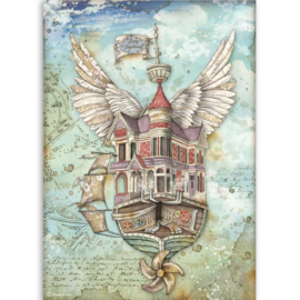 DFSA4521 Stamperia Rice Paper A4 Lady Vagabond Flying Ship