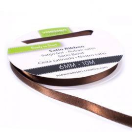 301002-1024 Vaessen Creative satijnlint dubbel 6mm - 10m bruin