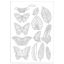 K3PTA489 Stamperia Soft Mould A4 Amazonia Leaves and Butterflies