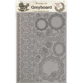 KLSPDA424 Stamperia Greyboard A4 Passion Lace and Roses