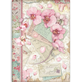 DFSA4512 Stamperia Rice Paper A4 Pink Orchid