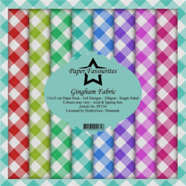 PF154 Paper Favourites Gingham Fabric 6x6 Inch Paper Pack